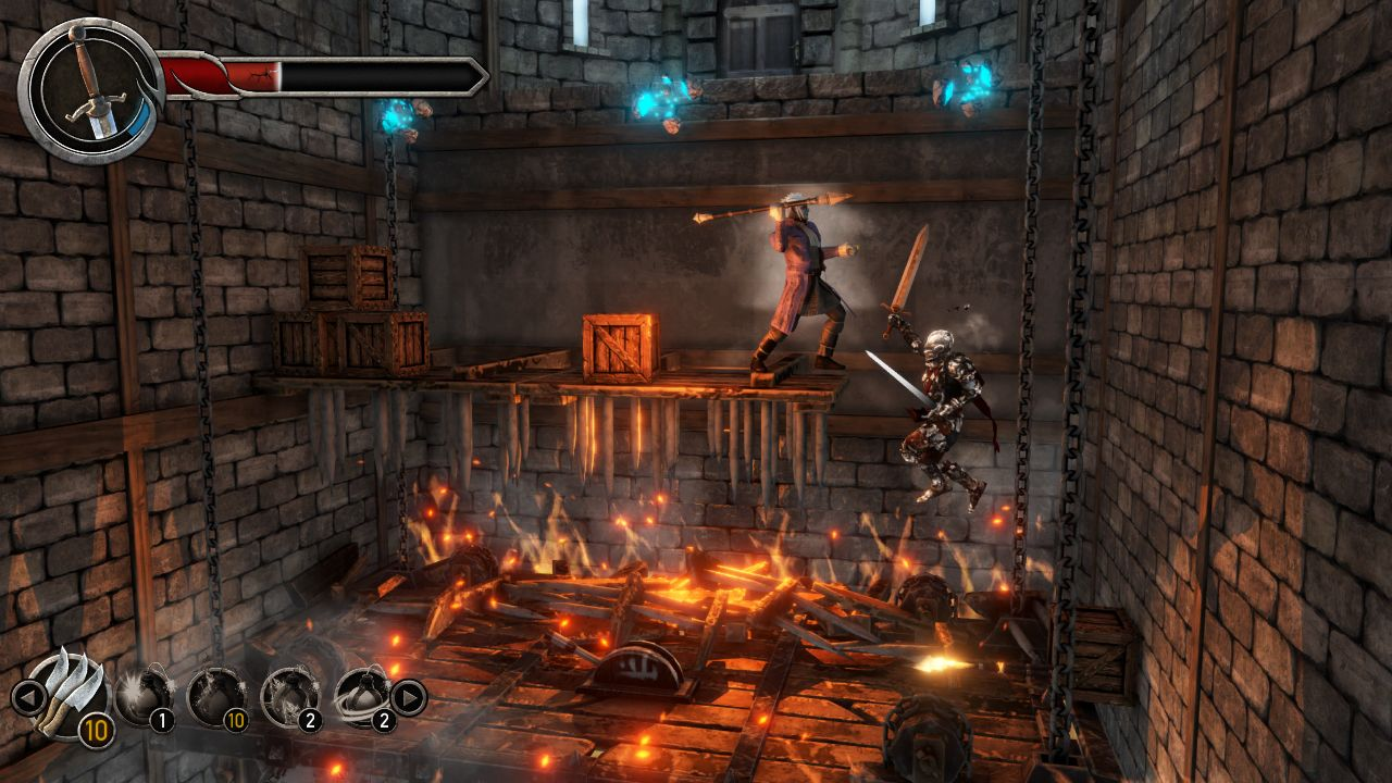 Jumping over fire in Castle of Heart