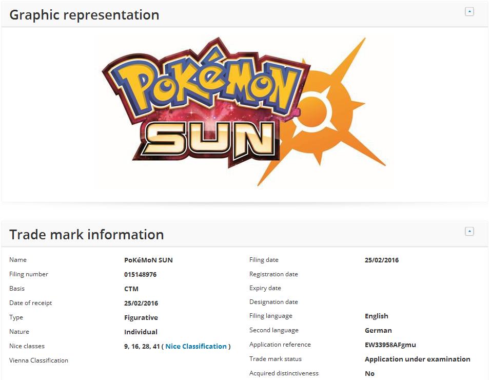 Pokemon Nintendo S For Moon Sun Trademarks In Europe