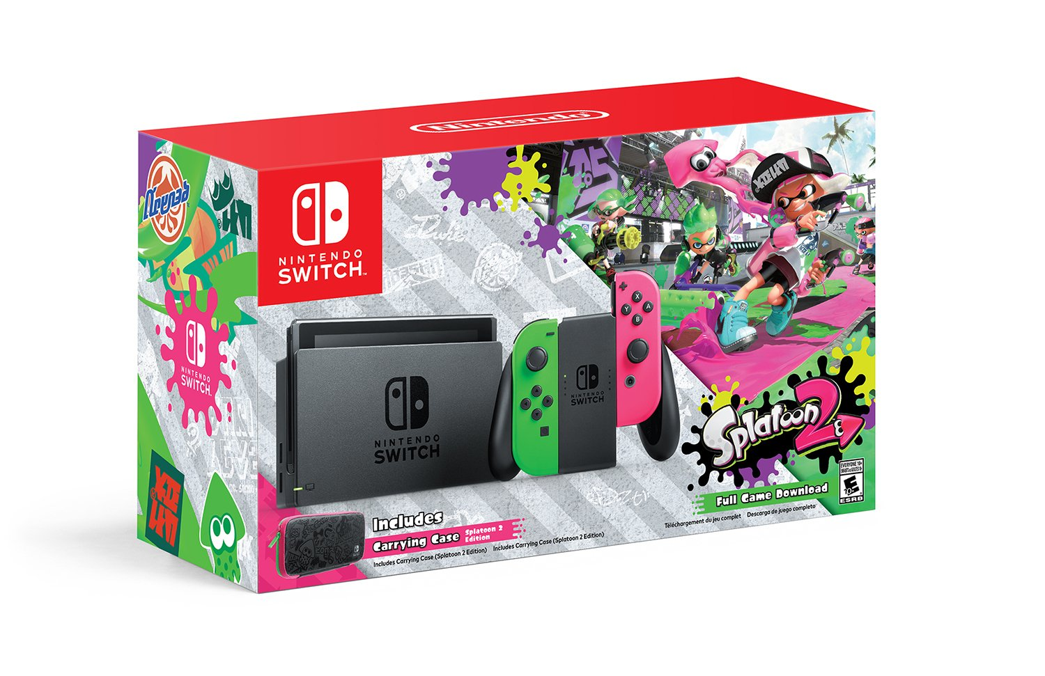 splatoon 2 nintendo switch bundle w neon green pink joy cons out next month in north. Black Bedroom Furniture Sets. Home Design Ideas