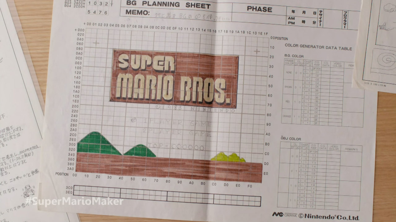 super mario maker for nintendo 3ds download your own course it s the very planning sheets that shigeru miyamoto and his team used when creating the stages from the original super mario bros on the nes