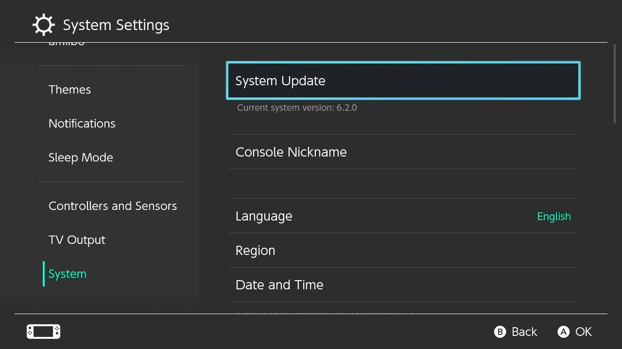 nintendo switch firmware updates latest update ver 6 2 0