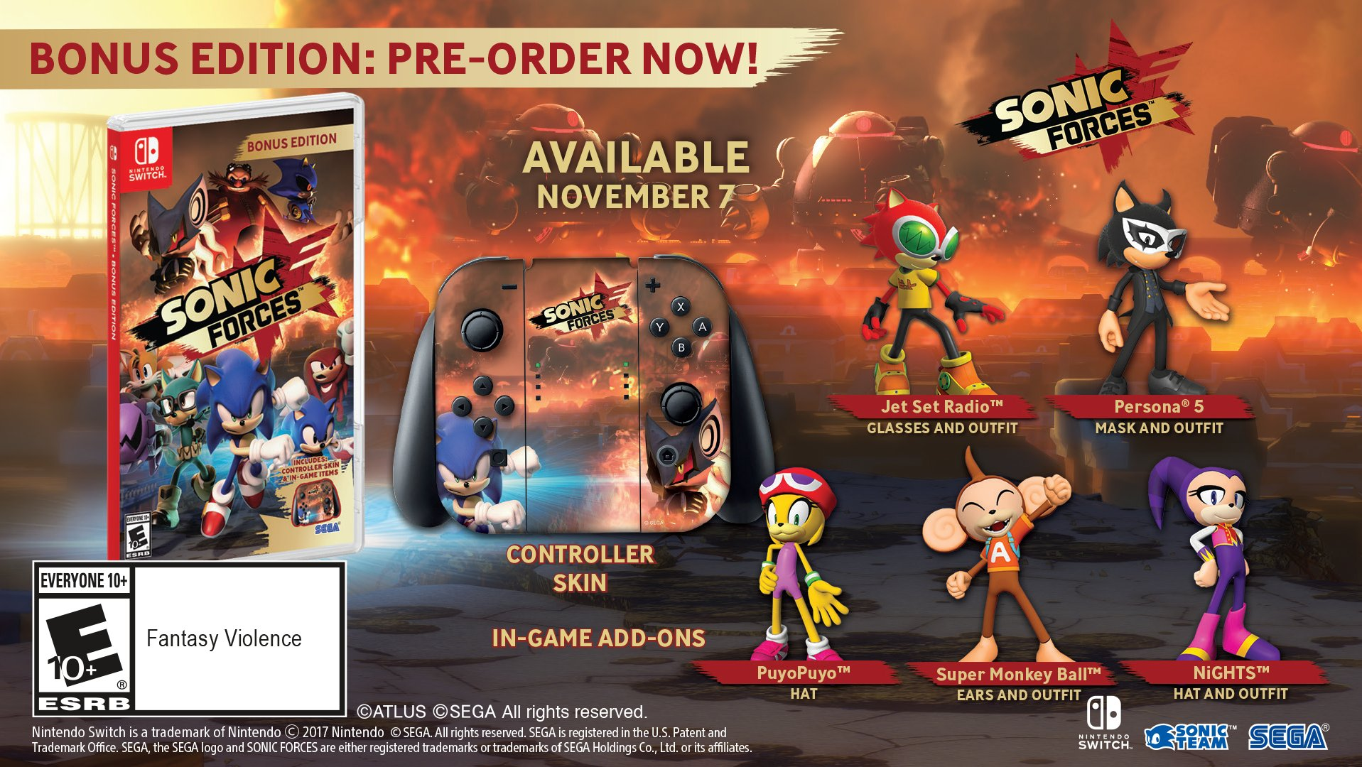 Sonic Forces to launch on November 7th, Bonus Edition with DLC and