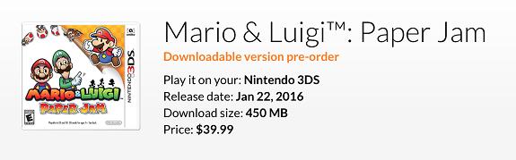 Mario & Luigi Paper Jam pre-order
