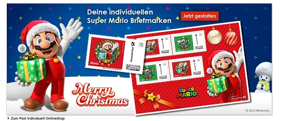 Super Mario Christmas stamps